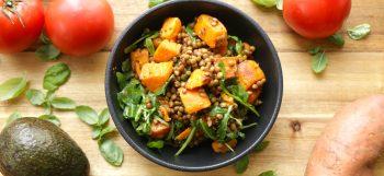 Salade tiède de lentilles et patate douces